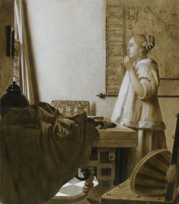 Underpainting of Vermeer's Woman with a pearl Necklace, Jonathan janson