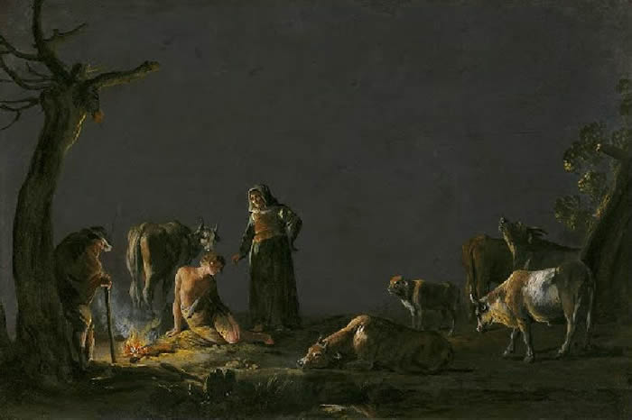 >Peasants by a Fire, Leonaert Bramer