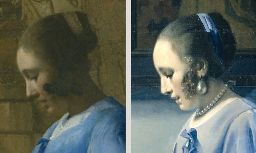 Side by side comparison of Vermeer's Woman in Blue Reading a Letter and Han van Meegeren's Woman Reading Music.