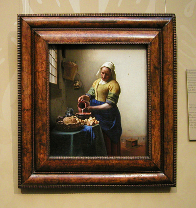 Vermeer 39 s paintings in their frames milkmaid for Framed reproduction oil paintings