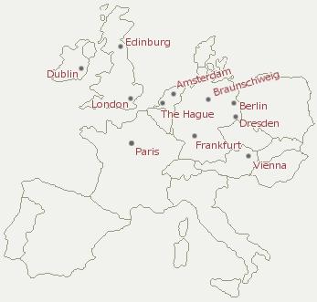 vermeer paintings in europe Detailed Map of Europe european cities with vermeer paintings