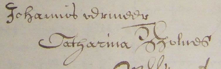 Signatures of Johannes Vermeer and Catharina Bolnes