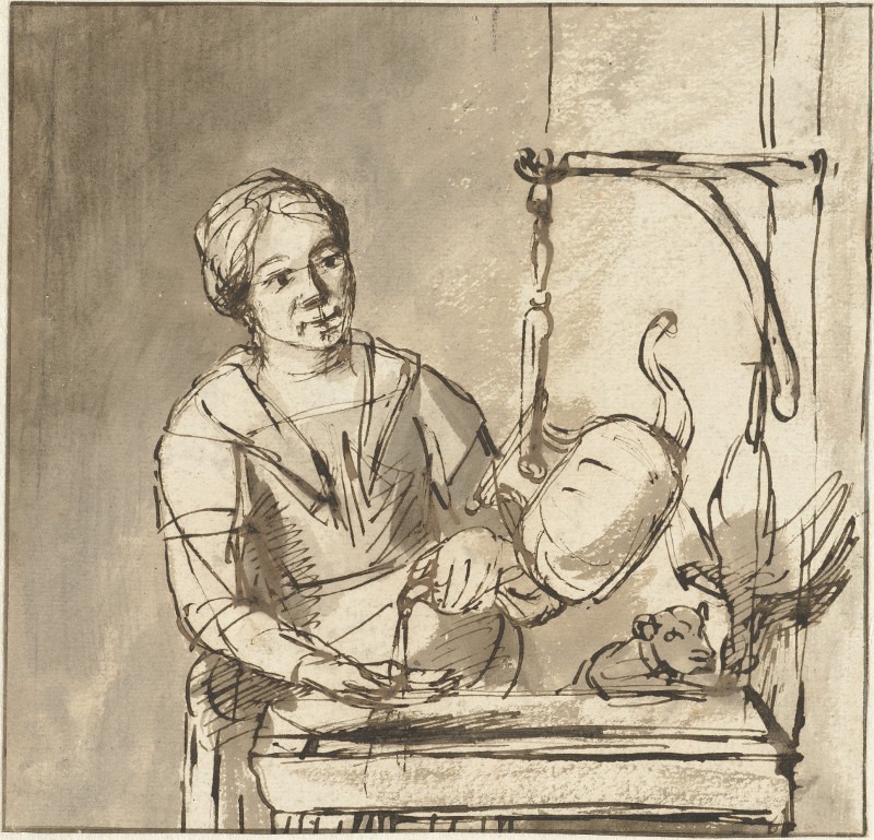 The Kitchen Maid Nicolaes Maes (1634u20131693)   Brush With Ink On Paper, 18 X  18.6 Cm. Rijksmuseum, Amsterdam
