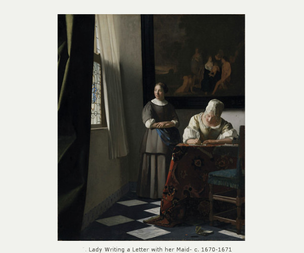 A lady writing chasing vermeer