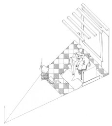 Axonometric view of Allegory of Faith by Johannes Vermeer (drawing by Philip Steadman)