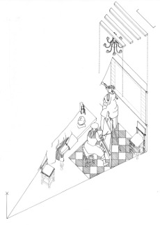 Axonometric view of The Art of painting by Johannes Vermeer (drawing by Philip Steadman)