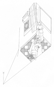 Axonometric view of Lady Writing a Letter with her Maid by Johannes Vermeer (drawing by Philip Steadman)