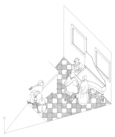 Axonometric view of  The Concert by Johannes Vermeer (drawing by Philip Steadman)
