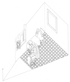 Axonometric view of  The Girl with a Wine Glass by Johannes Vermeer (drawing by Philip Steadman)
