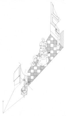 Axonometric view of The Love Letter by Johannes Vermeer (drawing by Philip Steadman)