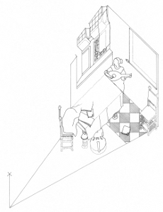Axonometric view of  Woman with a Lute by Johannes Vermeer (drawing by Philip Steadman)