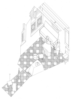 Axonometric view of The Music Lesson by Johannes Vermeer (drawing by Philip Steadman)