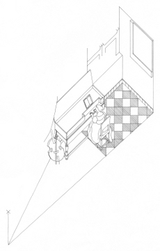 Axonometric view of A Lady Seated at a Virginal, Johannes Vermeer (drawing by Philip Steadman)