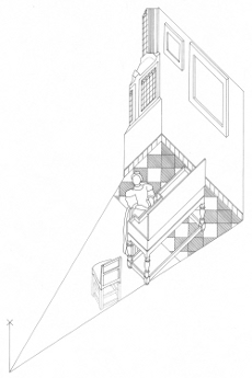 Axonometric view of A Lady Standing at a Virginal, Johannes Vermeer (drawing by Philip Steadman)