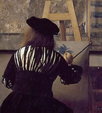 A detail of Vermeer's Art of Painting